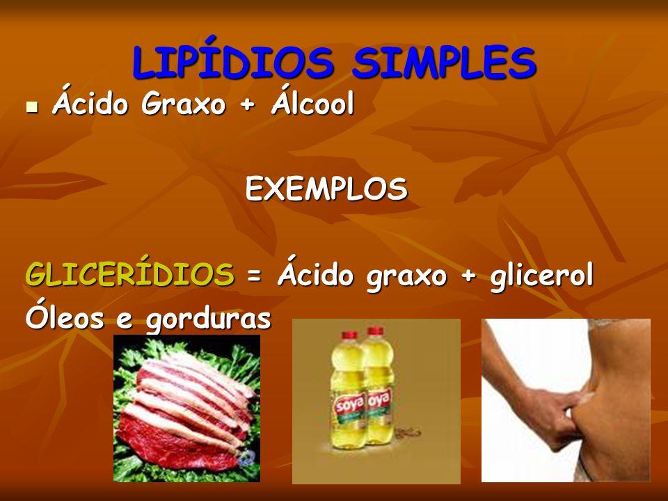 LIPÍDIOS SIMPLES Ácido Graxo + Álcool Ácido Graxo + ÁlcoolEXEMPLOS GLICERÍDIOS = Ácido graxo + glicerol Óleos e gorduras
