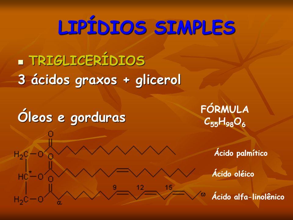 LIPÍDIOS SIMPLES TRIGLICERÍDIOS TRIGLICERÍDIOS 3 ácidos graxos + glicerol Óleos e gorduras Ácido palmítico Ácido oléico Ácido alfa-linolênico FÓRMULA C 55 H 98 O 6