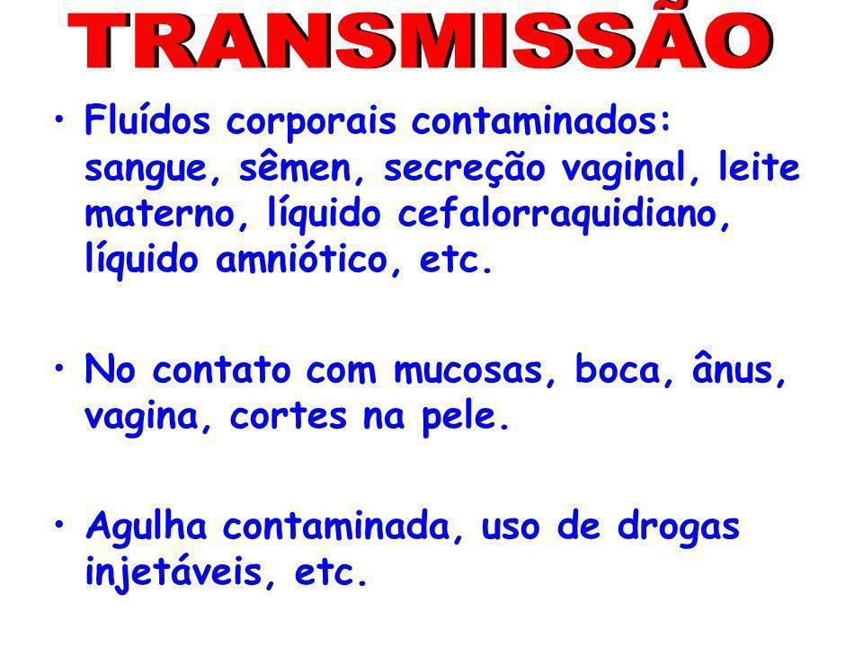 Fluídos corporais contaminados: sangue, sêmen, secreção vaginal, leite materno, líquido cefalorraquidiano, líquido amniótico, etc. No contato com muco