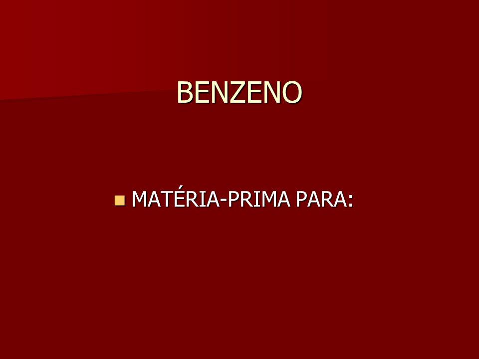 BENZENO MATÉRIA-PRIMA PARA: MATÉRIA-PRIMA PARA: