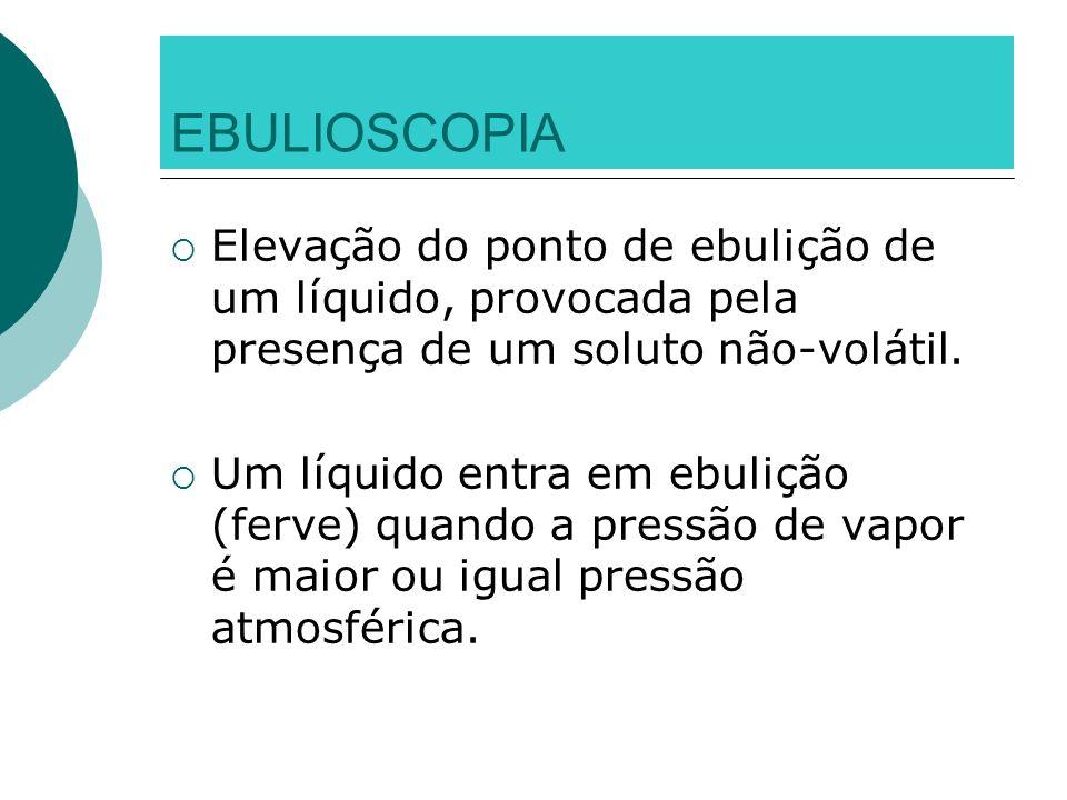 EBULIOSCOPIA Elevação do ponto de ebulição de um líquido, provocada pela presença de um soluto não-volátil. Um líquido entra em ebulição (ferve) quand