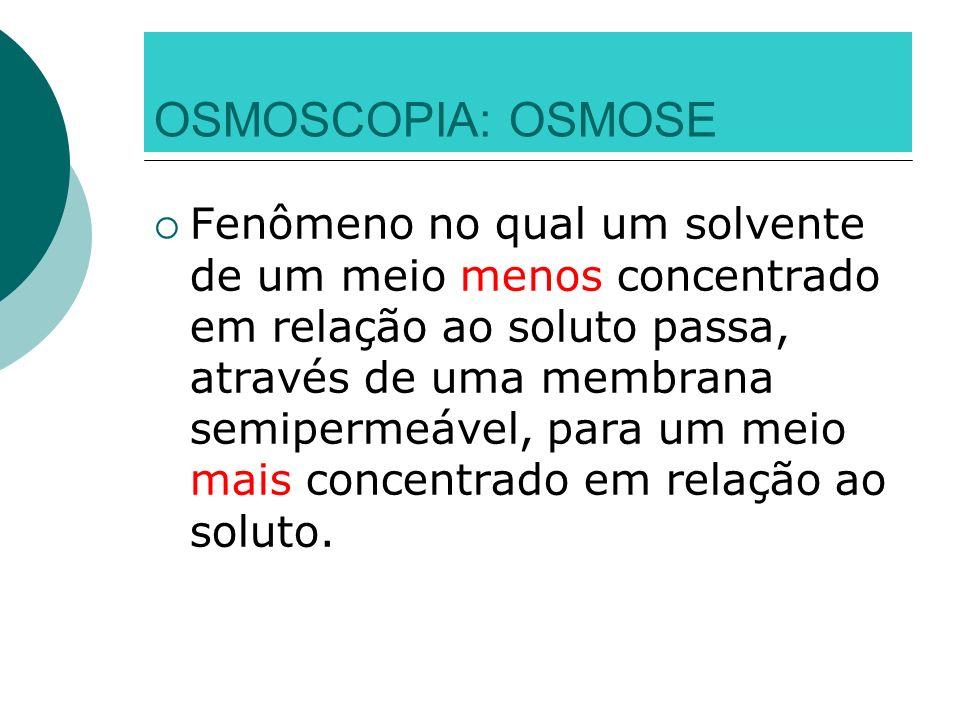 OSMOSCOPIA: OSMOSE Fenômeno no qual um solvente de um meio menos concentrado em relação ao soluto passa, através de uma membrana semipermeável, para u