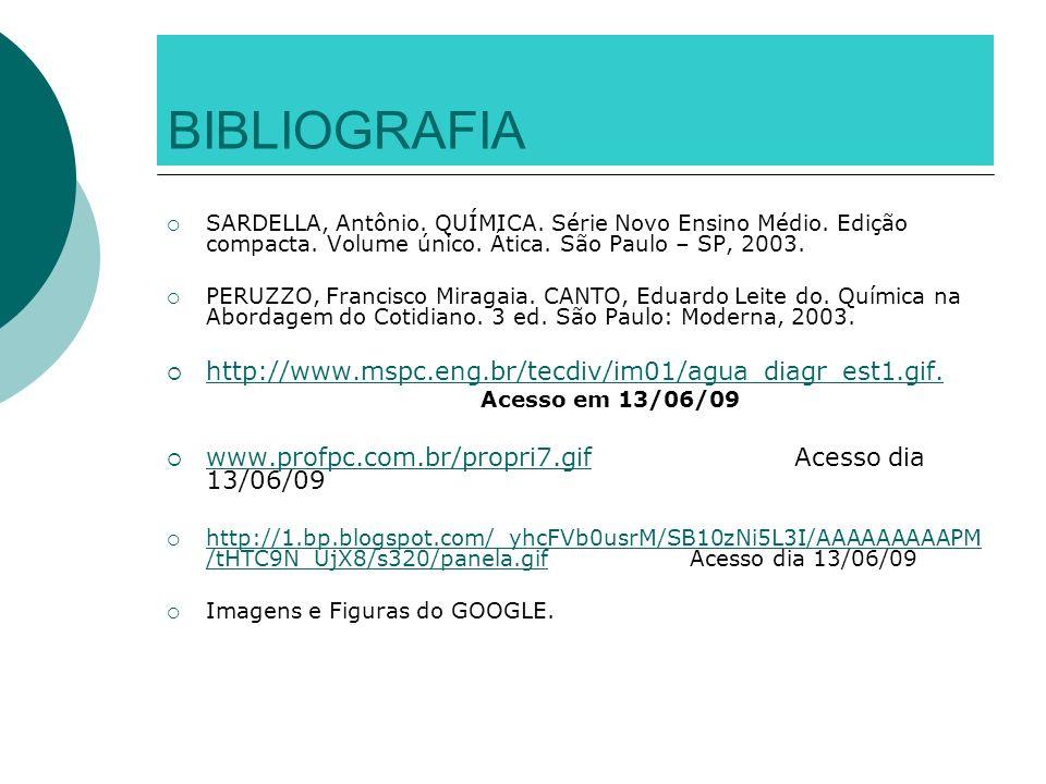 BIBLIOGRAFIA SARDELLA, Antônio. QUÍMICA. Série Novo Ensino Médio. Edição compacta. Volume único. Ática. São Paulo – SP, 2003. PERUZZO, Francisco Mirag