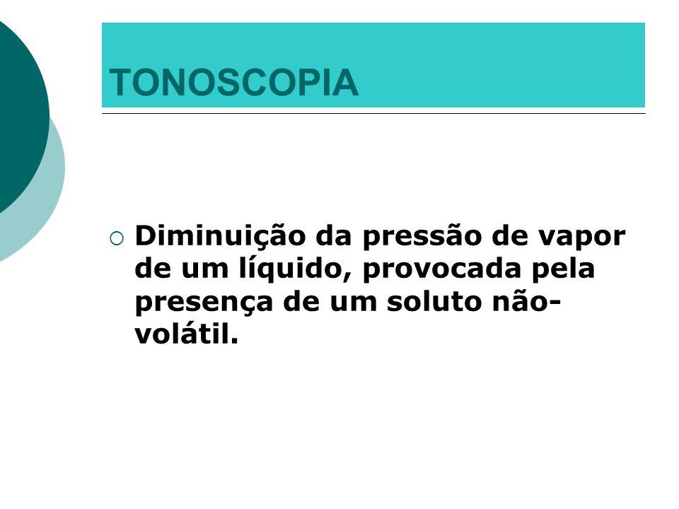 TONOSCOPIA Diminuição da pressão de vapor de um líquido, provocada pela presença de um soluto não- volátil.