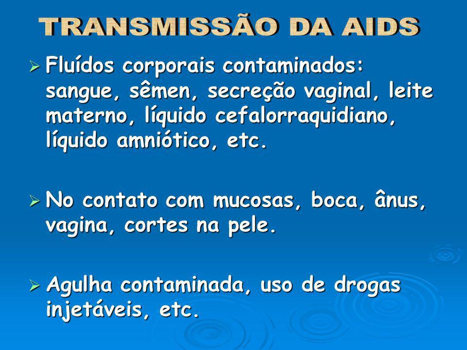 Fluídos corporais contaminados: sangue, sêmen, secreção vaginal, leite materno, líquido cefalorraquidiano, líquido amniótico, etc. Fluídos corporais c