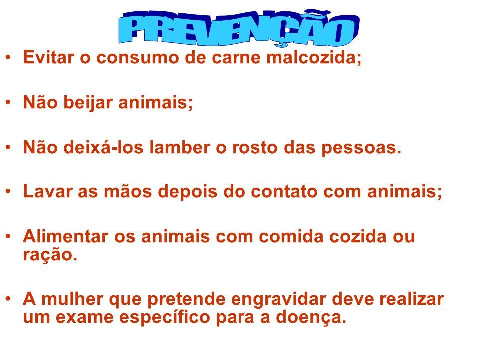 Evitar o consumo de carne malcozida; Não beijar animais; Não deixá-los lamber o rosto das pessoas. Lavar as mãos depois do contato com animais; Alimen