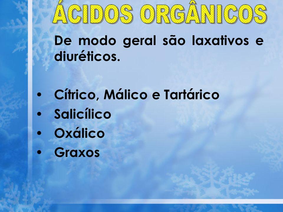 De modo geral são laxativos e diuréticos. Cítrico, Málico e Tartárico Salicílico Oxálico Graxos