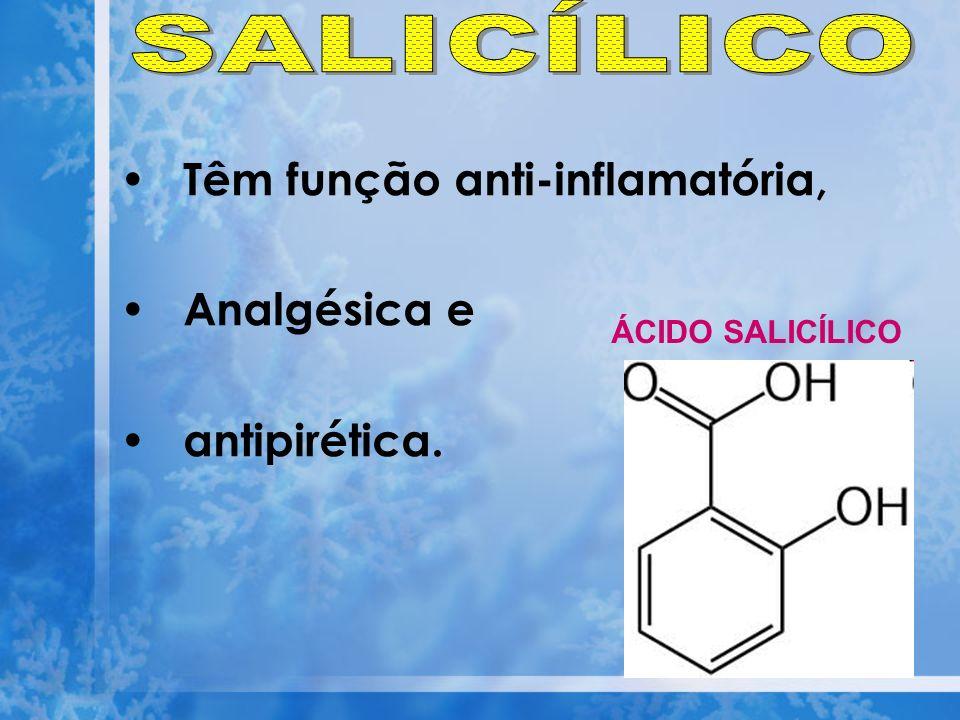 Têm função anti-inflamatória, Analgésica e antipirética. ÁCIDO SALICÍLICO