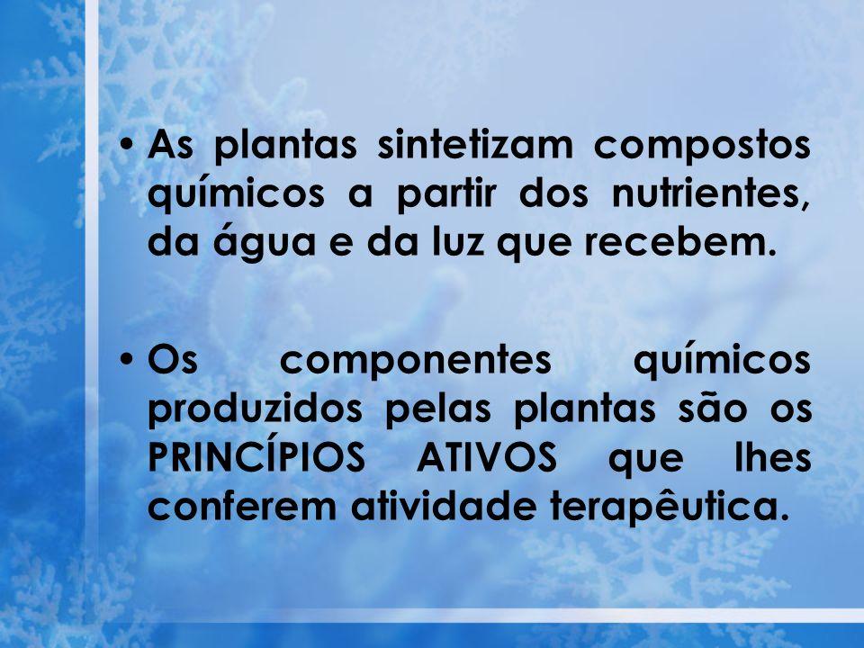 As plantas sintetizam compostos químicos a partir dos nutrientes, da água e da luz que recebem. Os componentes químicos produzidos pelas plantas são o