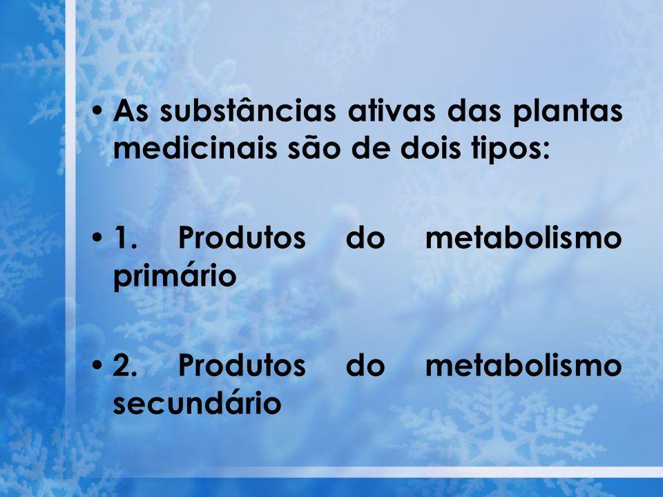 As substâncias ativas das plantas medicinais são de dois tipos: 1. Produtos do metabolismo primário 2. Produtos do metabolismo secundário