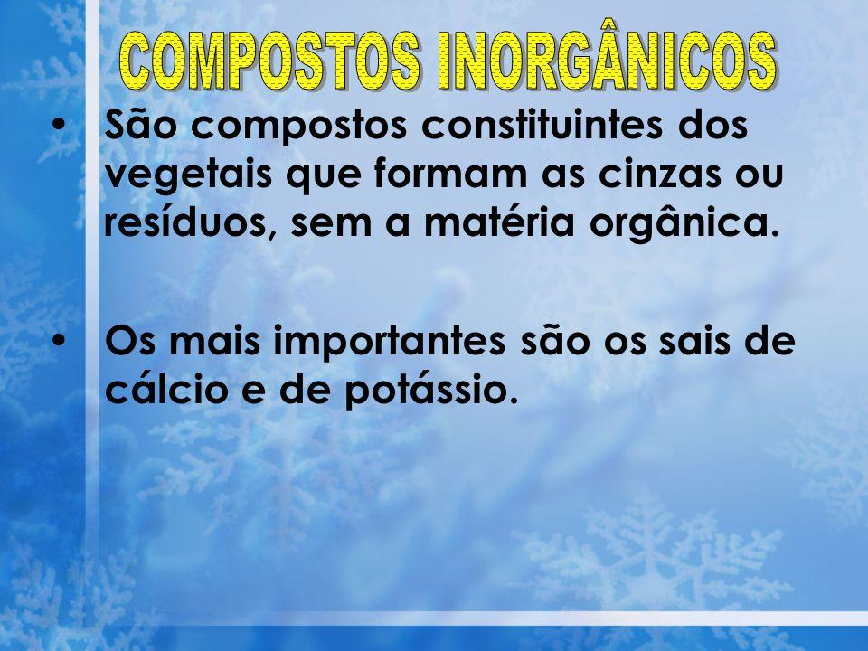 São compostos constituintes dos vegetais que formam as cinzas ou resíduos, sem a matéria orgânica. Os mais importantes são os sais de cálcio e de potá