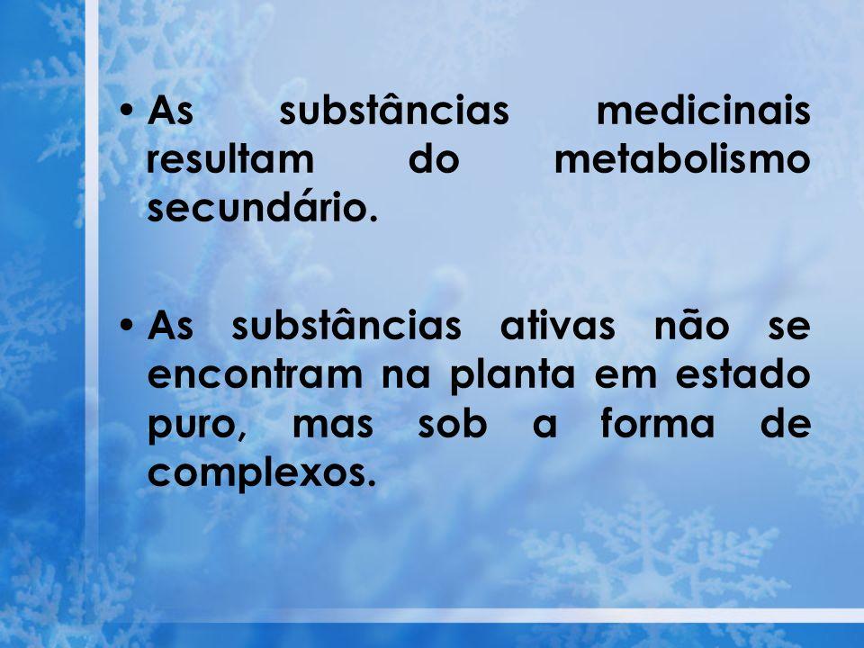 As substâncias medicinais resultam do metabolismo secundário. As substâncias ativas não se encontram na planta em estado puro, mas sob a forma de comp