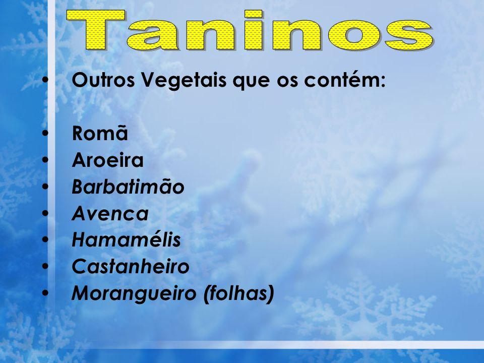 Outros Vegetais que os contém: Romã Aroeira Barbatimão Avenca Hamamélis Castanheiro Morangueiro (folhas)