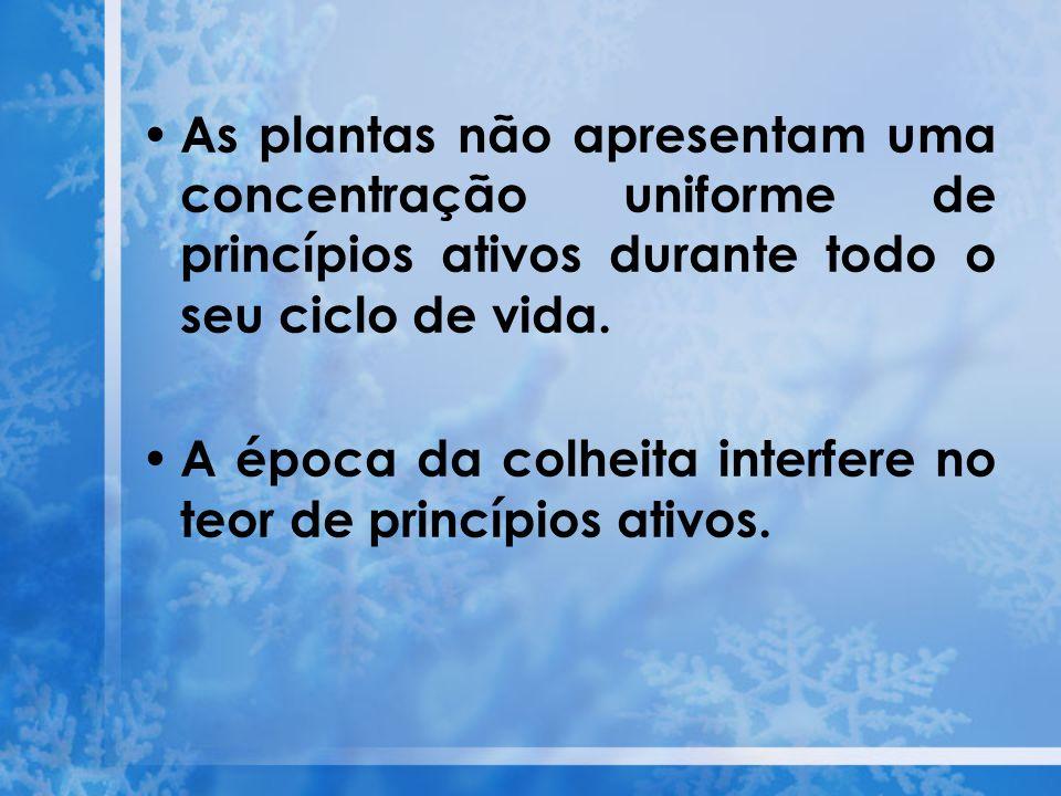 Os grupos de princípios ativos mais importantes são: 1.Ácidos orgânicos 2.Alcalóides 3.Antraquinonas 4.Compostos inorgânicos 5.Cumarinas 6.Flavonóides 7.Glicosídeos cardiotônicos