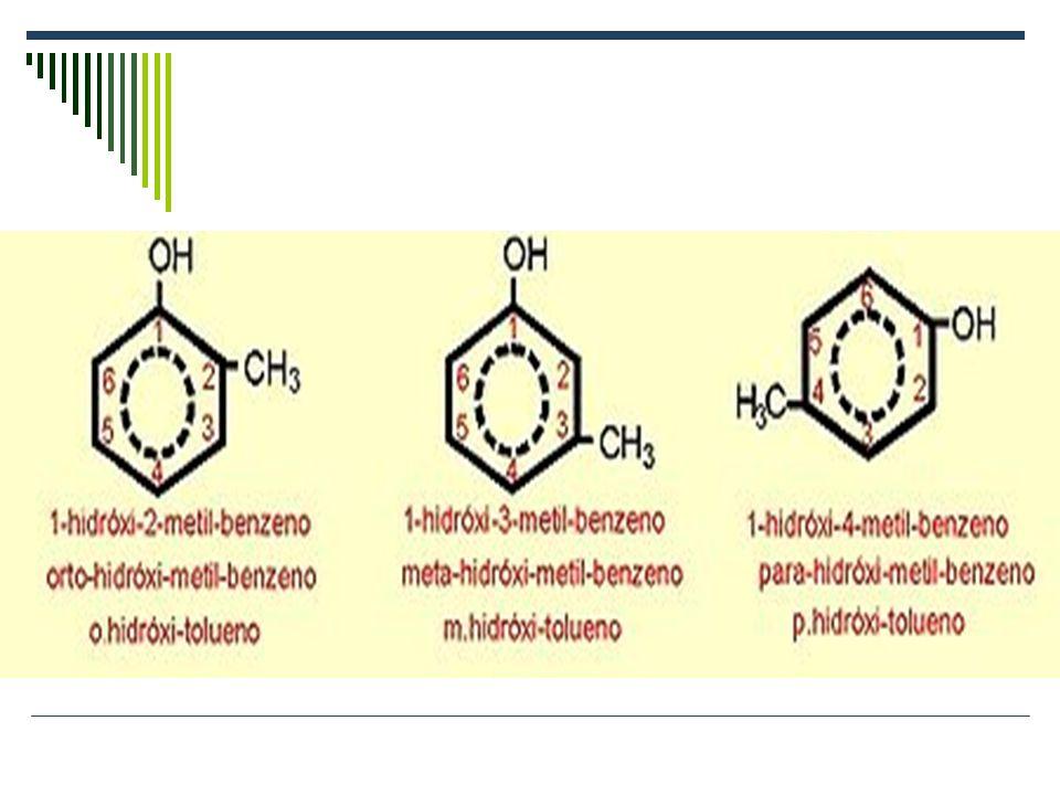 EXEMPLOS 2-metil-fenol 3-metil-fenol 4-metil-fenol 2-metil-benzenol3-metil-benzenol4-metil-benzenol 1-hidróxi-2-metil-benzeno 1-hidróxi-3-metil-benzen
