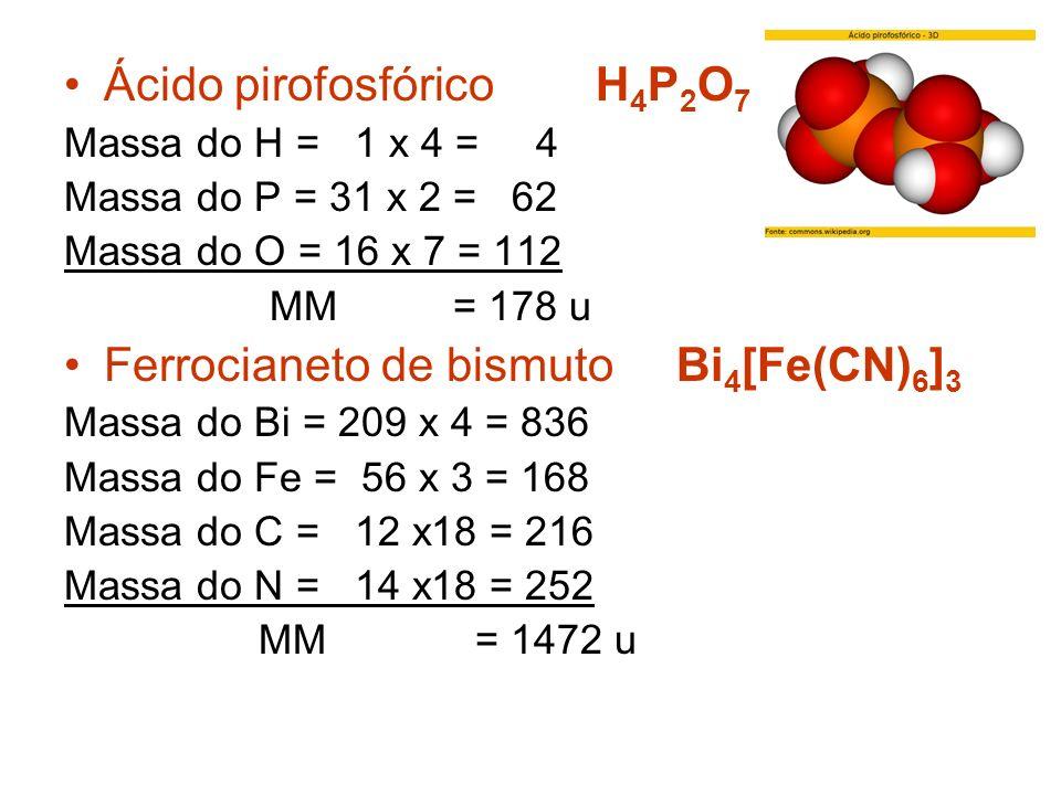 MASSA MOLECULAR (MM) Indica a massa de uma molécula. É obtida pela soma das atômicas de todos os elementos que constituem a molécula. Água H 2 O Massa
