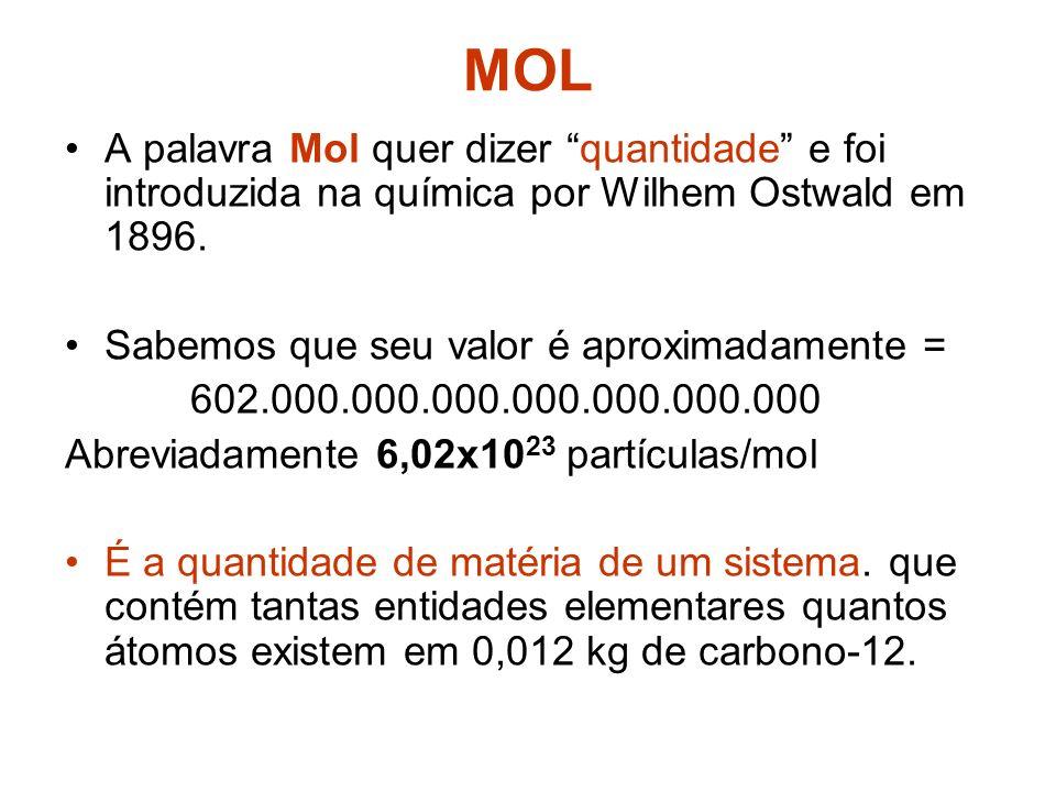 MASSA FÓRMULA (FM) Para substâncias que não são moleculares utilizamos o termo massa fórmula. É o mesmo método da MM. cloreto de sódioNaCl Massa do Na