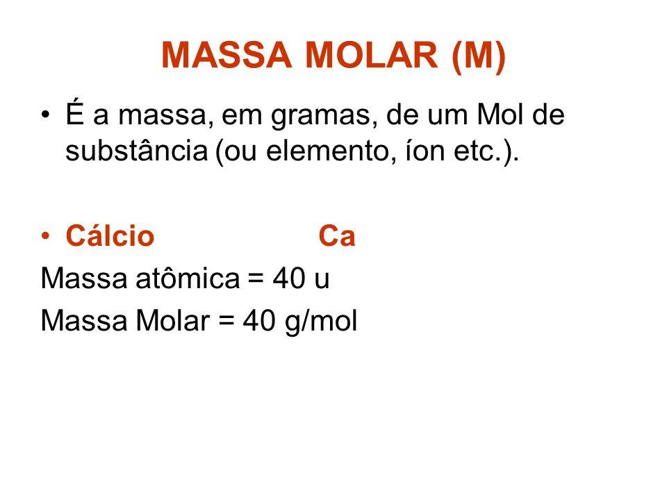 n = m MM Pode-se calcular mol utilizando essa fórmula. n = número de mols m = massa em gramas MM = massa molecular