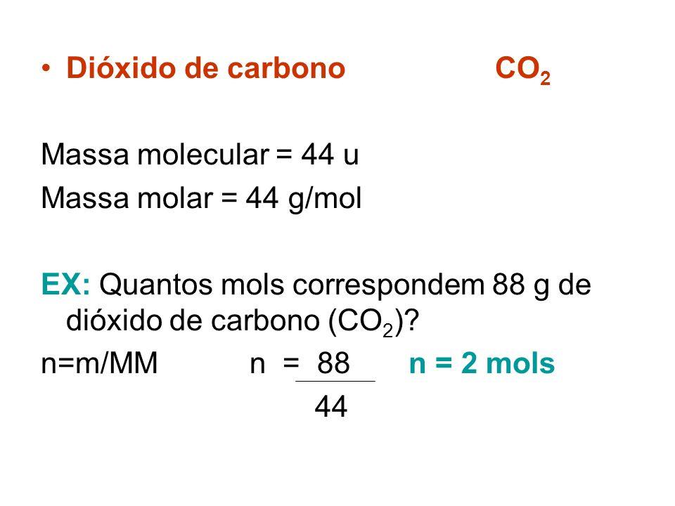 MASSA MOLAR (M) É a massa, em gramas, de um Mol de substância (ou elemento, íon etc.). Cálcio Ca Massa atômica = 40 u Massa Molar = 40 g/mol