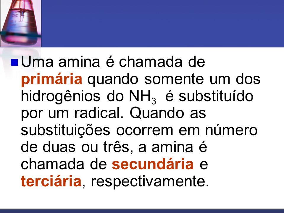 NOMENCLATURA Os nomes destes compostos podem ser obtidos informando-se os nomes dos radicais presentes, seguidos da palavra amina.