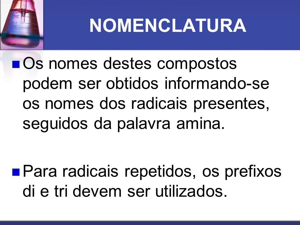NOMENCLATURA Os nomes destes compostos podem ser obtidos informando-se os nomes dos radicais presentes, seguidos da palavra amina. Para radicais repet