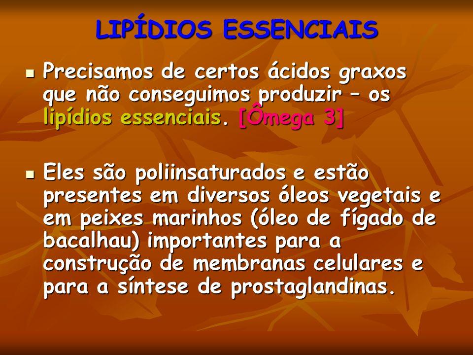 LIPÍDIOS ESSENCIAIS Precisamos de certos ácidos graxos que não conseguimos produzir – os lipídios essenciais.