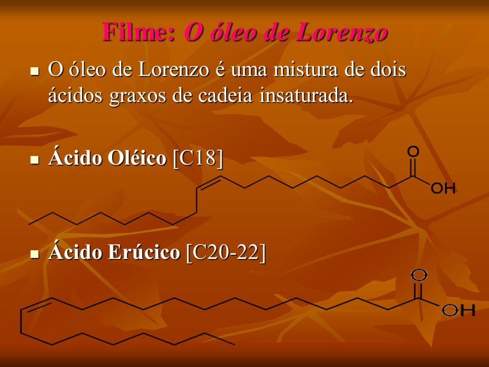 Filme: O óleo de Lorenzo O óleo de Lorenzo é uma mistura de dois ácidos graxos de cadeia insaturada.