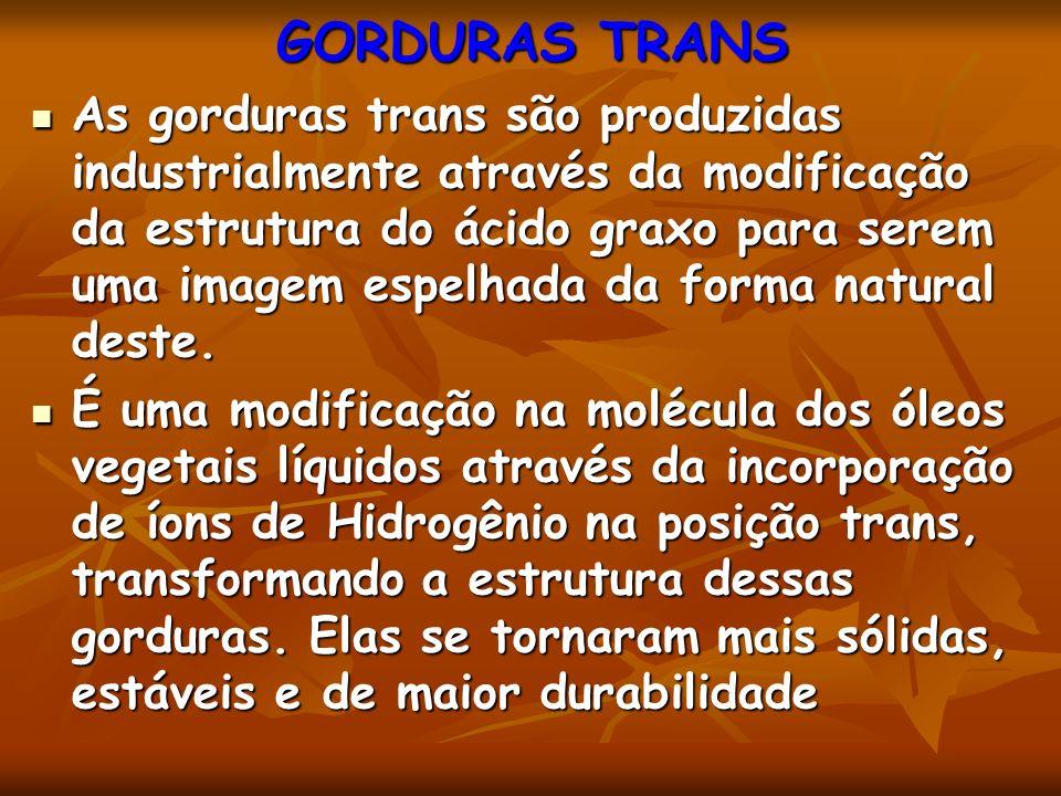 GORDURAS TRANS As gorduras trans são produzidas industrialmente através da modificação da estrutura do ácido graxo para serem uma imagem espelhada da forma natural deste.