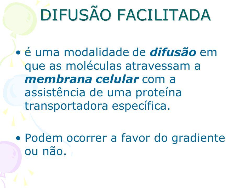 DIFUSÃO FACILITADA é uma modalidade de difusão em que as moléculas atravessam a membrana celular com a assistência de uma proteína transportadora espe