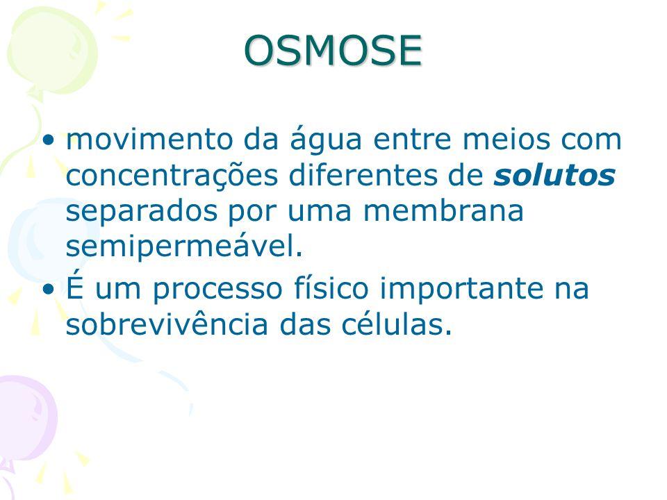 OSMOSE movimento da água entre meios com concentrações diferentes de solutos separados por uma membrana semipermeável. É um processo físico importante