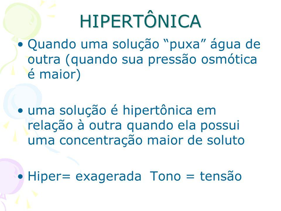 HIPERTÔNICA Quando uma solução puxa água de outra (quando sua pressão osmótica é maior) uma solução é hipertônica em relação à outra quando ela possui