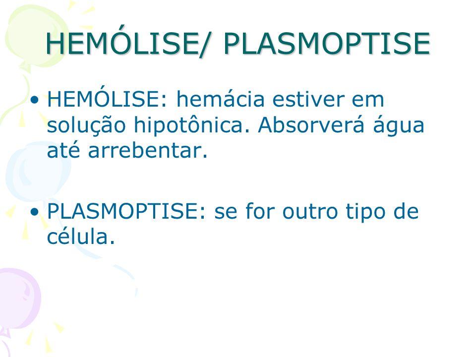 HEMÓLISE/ PLASMOPTISE HEMÓLISE: hemácia estiver em solução hipotônica. Absorverá água até arrebentar. PLASMOPTISE: se for outro tipo de célula.