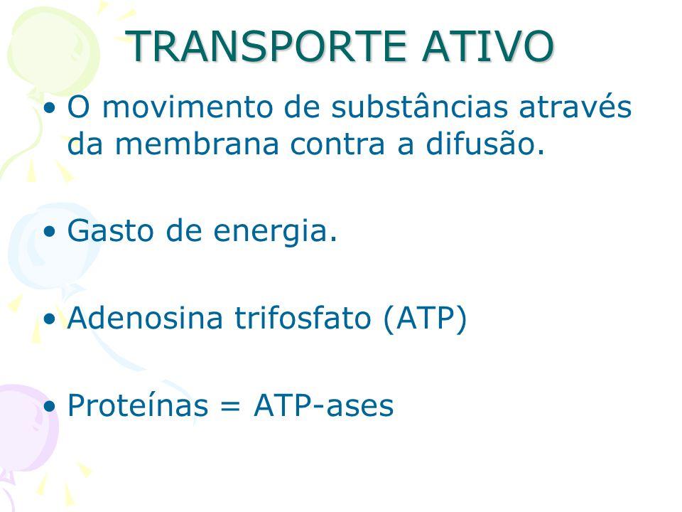 TRANSPORTE ATIVO O movimento de substâncias através da membrana contra a difusão. Gasto de energia. Adenosina trifosfato (ATP) Proteínas = ATP-ases