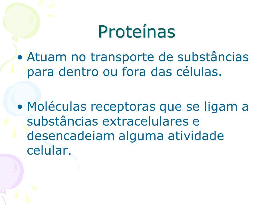 Proteínas Atuam no transporte de substâncias para dentro ou fora das células. Moléculas receptoras que se ligam a substâncias extracelulares e desenca