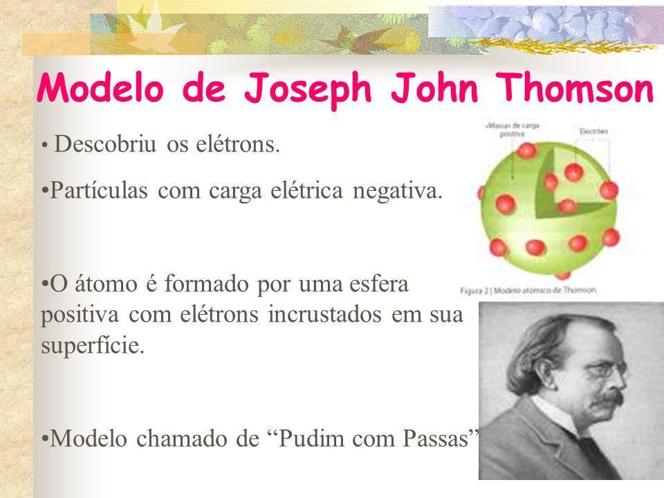 Modelo de Joseph John Thomson Descobriu os elétrons.