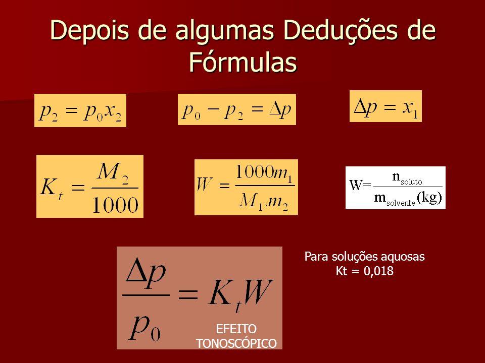 Depois de algumas Deduções de Fórmulas Para soluções aquosas Kt = 0,018 EFEITO TONOSCÓPICO