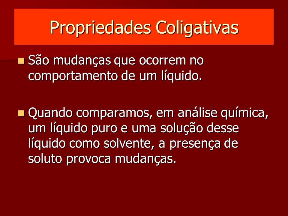 Propriedades Coligativas São mudanças que ocorrem no comportamento de um líquido.