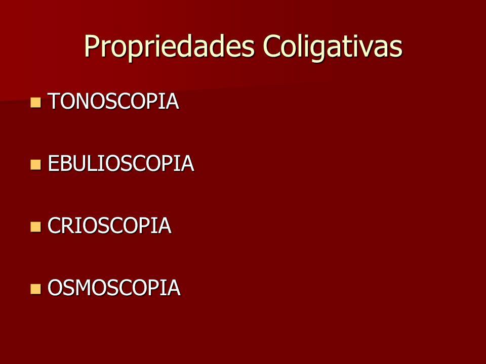 Propriedades Coligativas TONOSCOPIA TONOSCOPIA EBULIOSCOPIA EBULIOSCOPIA CRIOSCOPIA CRIOSCOPIA OSMOSCOPIA OSMOSCOPIA