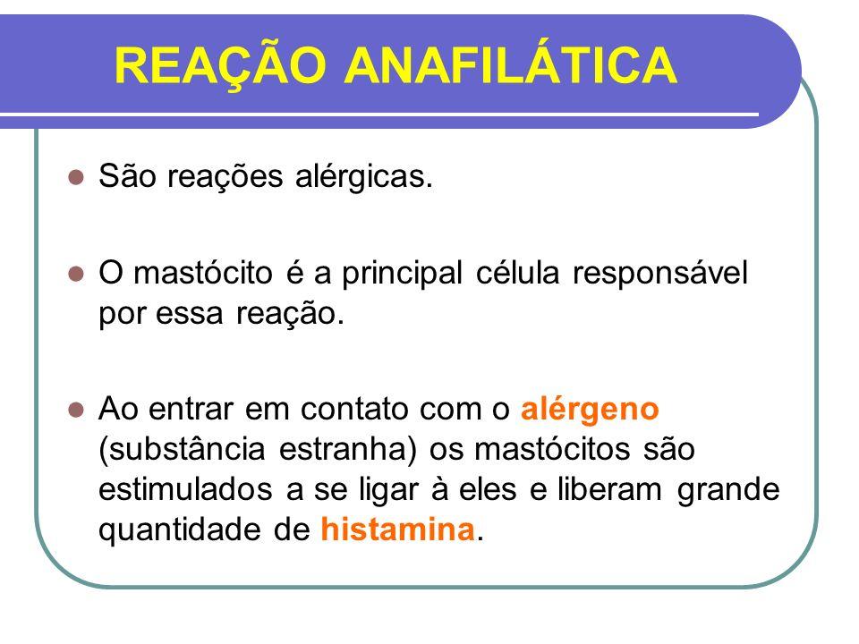 REAÇÃO ANAFILÁTICA São reações alérgicas. O mastócito é a principal célula responsável por essa reação. Ao entrar em contato com o alérgeno (substânci