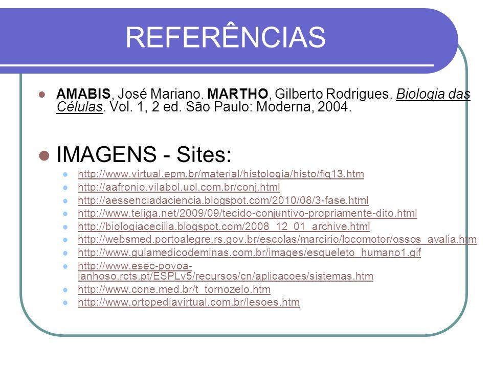 REFERÊNCIAS AMABIS, José Mariano. MARTHO, Gilberto Rodrigues. Biologia das Células. Vol. 1, 2 ed. São Paulo: Moderna, 2004. IMAGENS - Sites: http://ww