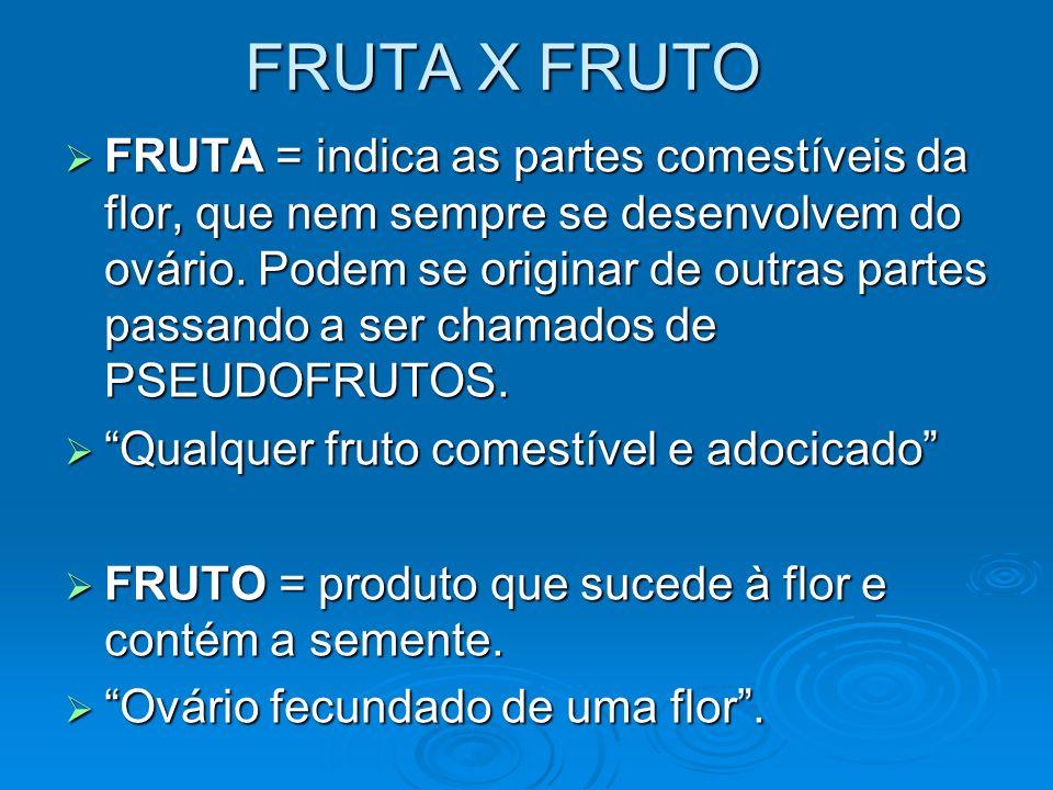 FRUTA X FRUTO FRUTA = indica as partes comestíveis da flor, que nem sempre se desenvolvem do ovário. Podem se originar de outras partes passando a ser