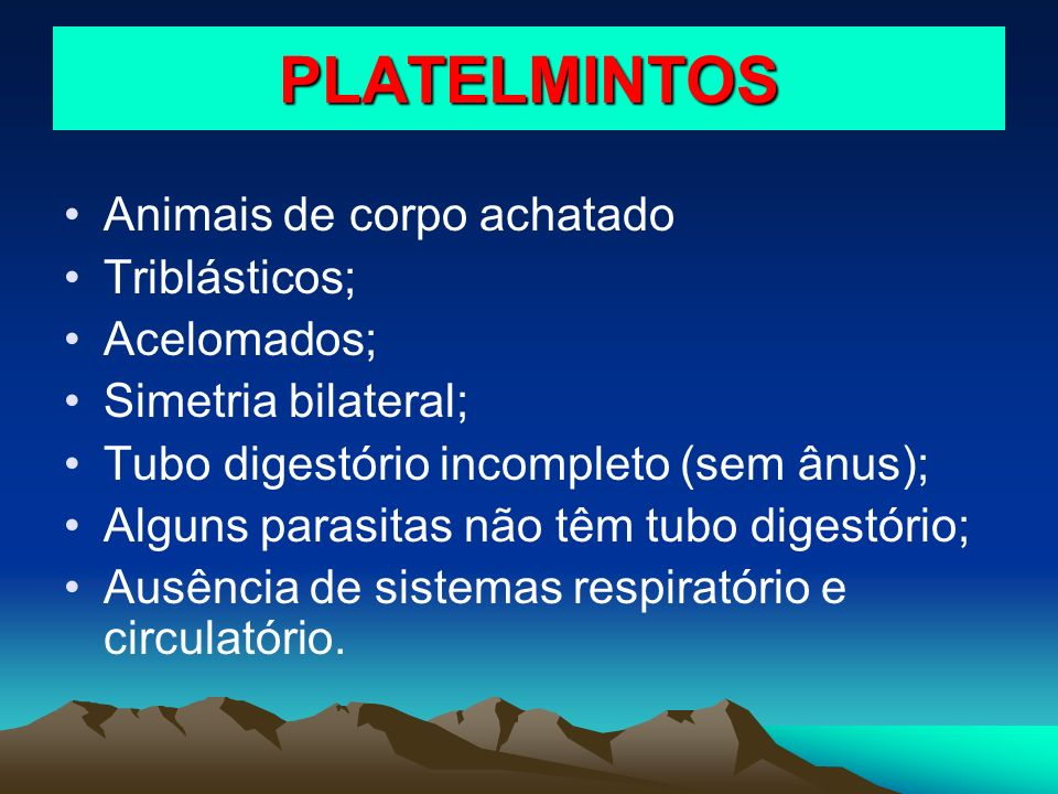 PLATELMINTOS Animais de corpo achatado Triblásticos; Acelomados; Simetria bilateral; Tubo digestório incompleto (sem ânus); Alguns parasitas não têm t