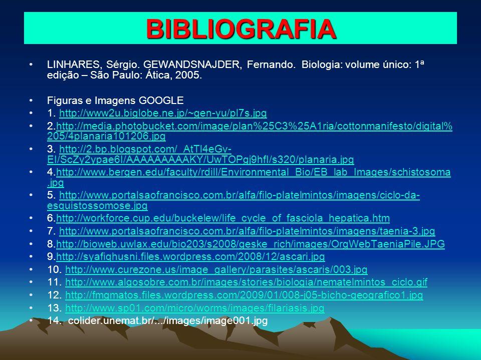 BIBLIOGRAFIA LINHARES, Sérgio. GEWANDSNAJDER, Fernando. Biologia: volume único: 1ª edição – São Paulo: Ática, 2005. Figuras e Imagens GOOGLE 1. http:/