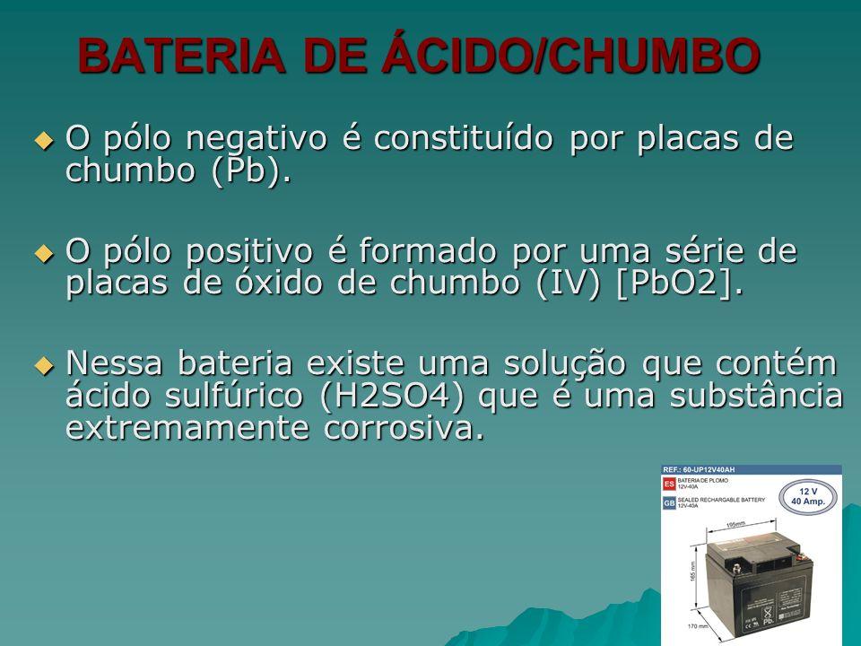 BATERIA DE ÁCIDO/CHUMBO O pólo negativo é constituído por placas de chumbo (Pb). O pólo negativo é constituído por placas de chumbo (Pb). O pólo posit