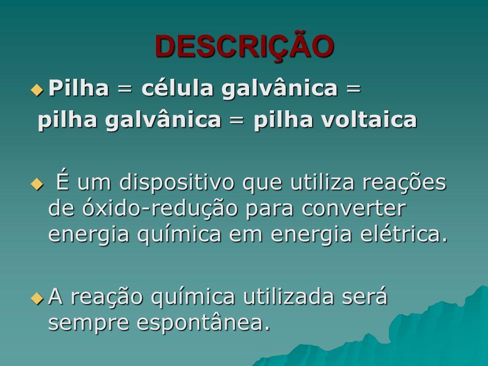 DESCRIÇÃO Pilha = célula galvânica = Pilha = célula galvânica = pilha galvânica = pilha voltaica pilha galvânica = pilha voltaica É um dispositivo que