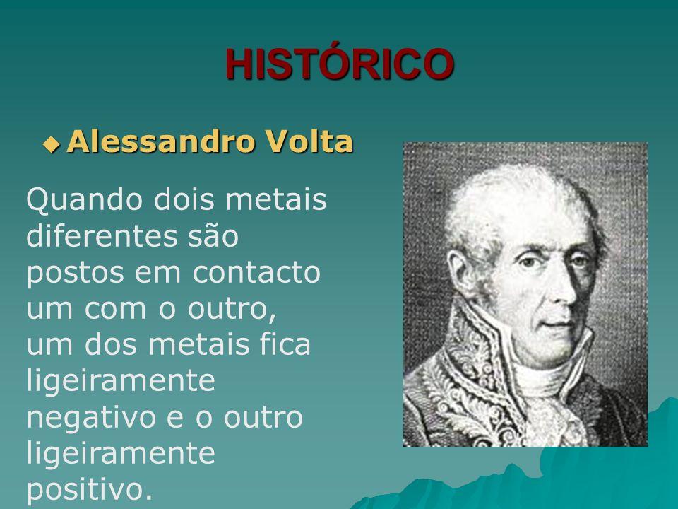 HISTÓRICO Alessandro Volta Alessandro Volta Quando dois metais diferentes são postos em contacto um com o outro, um dos metais fica ligeiramente negat