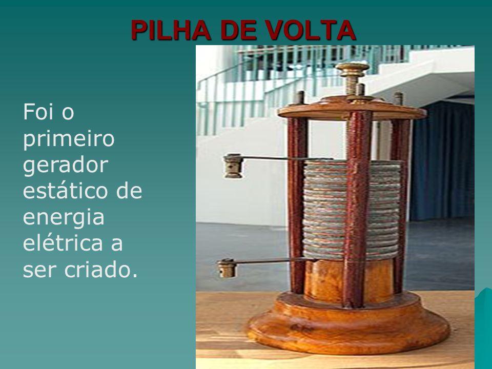 PILHA DE VOLTA Empilhou alternadamente discos de zinco e de cobre, separando-os por pedaços de tecido embebidos em solução de ácido sulfúrico.