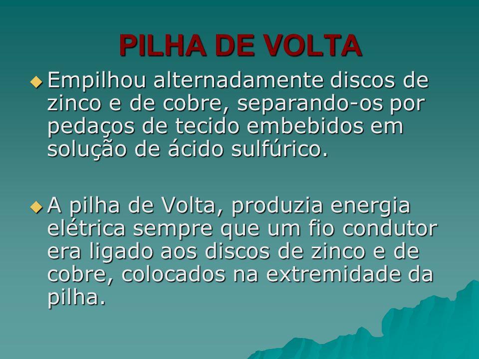 PILHA DE VOLTA Empilhou alternadamente discos de zinco e de cobre, separando-os por pedaços de tecido embebidos em solução de ácido sulfúrico. Empilho