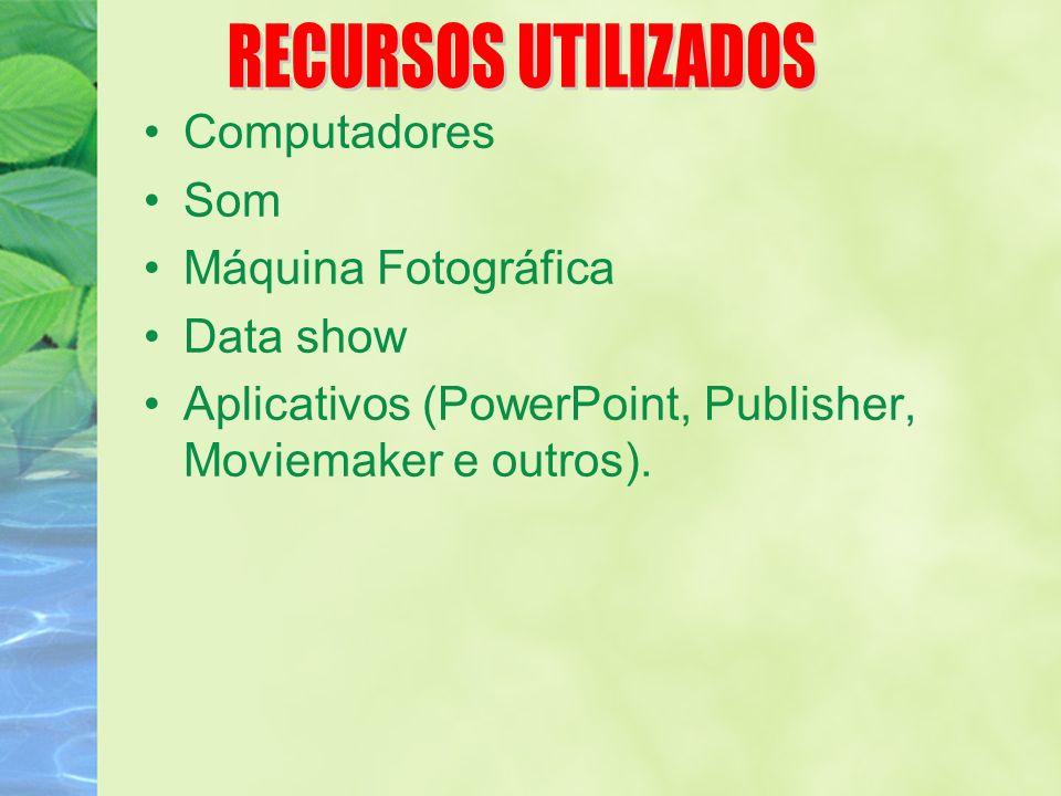 Computadores Som Máquina Fotográfica Data show Aplicativos (PowerPoint, Publisher, Moviemaker e outros).