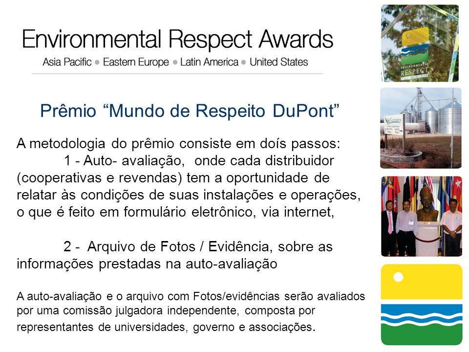 Prêmio Mundo de Respeito DuPont A metodologia do prêmio consiste em doís passos: 1 - Auto- avaliação, onde cada distribuidor (cooperativas e revendas)